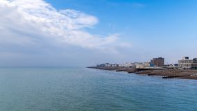 Worthing, West Sussex, UK. Clouds over Worthing beach, West Sussex, UK Stock Photo