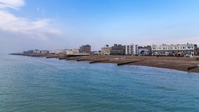 Worthing, West Sussex, UK. Clouds over Worthing beach, West Sussex, UK Royalty Free Stock Image