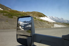 Worthington glacier from the mirror Stock Photo