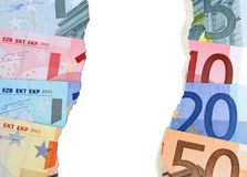 Worthless Euro. Selection of European Euro currency bank notes with torn effect Royalty Free Stock Photography