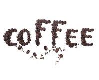 Wortkaffee gebildet von den Kaffeebohnen Stockfotos