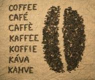 Wortkaffee mit Kaffeebohne Lizenzfreie Stockfotos
