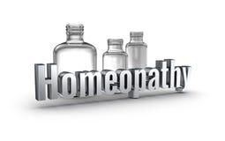 Wortkonzept der Homöopathie 3d über Weiß Stockfotos