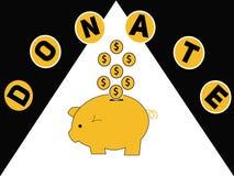Wortkonzept spenden und Sparschwein mit Dollarmünzen lizenzfreie abbildung