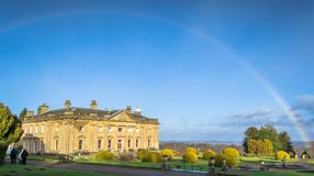 Wortley Hall. Walking round Wortley gardens a brief wintry shower made a great rainbow for just a few minutes Royalty Free Stock Photography