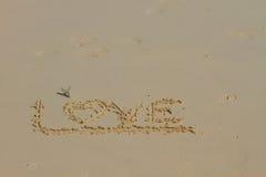 Wortliebe auf Sand Lizenzfreie Stockbilder