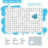 Wortpuzzlespiel-Kinderlernspiel Lernen des Vokabulars lizenzfreie stockfotos