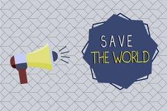 Wortschreibens-Text Abwehr die Welt Geschäftskonzept für Protect die Umwelt und das lebende Spezies Ökosystem vektor abbildung