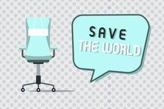 Wortschreibens-Text Abwehr die Welt Geschäftskonzept für Protect die Umwelt und das lebende Spezies Ökosystem lizenzfreie abbildung