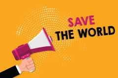 Wortschreibens-Text Abwehr die Welt Geschäftskonzept für Protect die Umwelt und das lebende Spezies Ökosystem stock abbildung