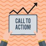 Wortschreibens-Text Aufruf zum Handeln Geschäftskonzept für Ermahnung, etwas im Auftrag zu tun erzielen Ziel mit Problem Hand lizenzfreie abbildung