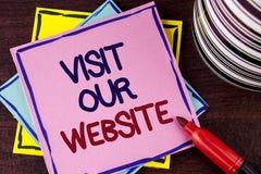 Wortschreibens-Text Besuch unsere Website Geschäftskonzept für Einladungs-Uhrwebseite Link zum homepage-Blog-Internet geschrieben Lizenzfreies Stockfoto