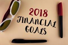 Wortschreibens-Text 2018 Finanzziele Geschäftskonzept für neue Geschäftsstrategie erwerben mehr Gewinnen weniger Investition, die Stockfoto