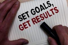 Wortschreibens-Text gesetzte Ziele, erhalten Ergebnisse Geschäftskonzept für Establish Ziele arbeiten für vollenden sie bla Reich stockfoto
