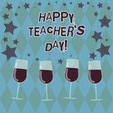 Wortschreibens-Text glücklicher Lehrer S Is Day Geschäftskonzept für Geburt zweite Präsidenten India verwendet, Meister zu feiern lizenzfreie abbildung