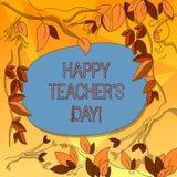 Wortschreibens-Text glücklicher Lehrer S Is Day Geschäftskonzept für Geburt zweite Präsidenten India verwendet, Meisterbaum zu fe vektor abbildung