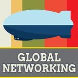 Wortschreibens-Text globale Vernetzung Geschäftskonzept für Kommunikationsnetz, das die gesamte Erde WAN überspannt vektor abbildung