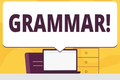 Wortschreibens-Text Grammatik Geschäftskonzept für System und Struktur von Sprachschreibregeln löschen enorme Rede stock abbildung