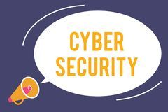 Wortschreibens-Text Internetsicherheit Geschäftskonzept für Protect ein Computersystem gegen unberechtigten Zugriff stock abbildung