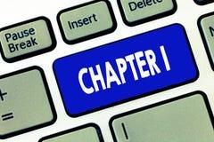 Wortschreibens-Text Kapitel 1 Geschäftskonzept für neue Inspiration Gelegenheit des Anfangsod-Buchprojektgeschichtenerzählens lizenzfreies stockfoto