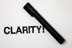 Wortschreibens-Text Klarheit Geschäftskonzept für Sicherheits-Präzisions-Reinheits-Verständlichkeits-Transparenz-Genauigkeits-Ide lizenzfreie stockfotografie