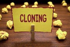 Wortschreibens-Text Klonen Geschäftskonzept für Make Duplikate von jemand oder von etwas, die Klone Wäscheklammer hält y herstell lizenzfreie stockfotos