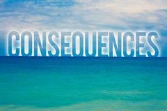 Wortschreibens-Text Konsequenzen Geschäftskonzept für Ergebnis-Ergebnis gab blaues wa Strand der Fazit-Schwierigkeits-Verzweigung stock abbildung