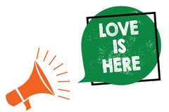 Wortschreibens-Text Liebe ist hier Geschäftskonzept für romantisches reizendes Gefühl des Gefühls positives Ausdruck-Sorgfalt-Joy lizenzfreie abbildung