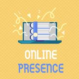 Wortschreibens-Text on-line-Anwesenheit Geschäftskonzept für Bestehen von jemand, das über eine on-line-Suche gefunden werden kan vektor abbildung