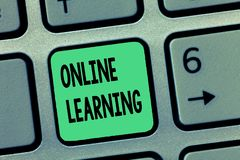 Wortschreibens-Text on-line-Lernen Geschäftskonzept für Larning mit der Unterstützung vom Internet und von einem Computer lizenzfreies stockbild