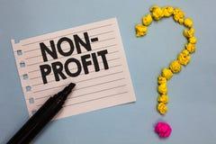 Wortschreibens-Text nicht Gewinn Geschäftskonzept für das Erbringen von Produkten oder von Dienstleistung, ohne Papiermarkierung  lizenzfreies stockbild