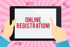 Wortschreibens-Text Online-Registrierung Geschäftskonzept für das Registrieren über das Internet als Benutzer eines Produktes lizenzfreie abbildung