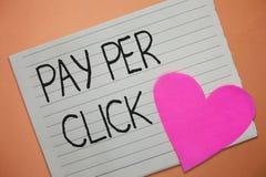 Wortschreibens-Text Pay per Click Geschäftskonzept für Internet-Werbungs-Modell-Search Engine-Marketingstrategie lizenzfreies stockbild