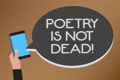 Wortschreibens-Text Poesie ist nicht tot Geschäftskonzept für ästhetisches und rhythmisches Schreiben ist noch lebendig und moder vektor abbildung