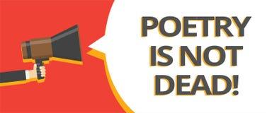 Wortschreibens-Text Poesie ist nicht tot Geschäftskonzept für ästhetisches und rhythmisches Schreiben ist noch lebendige und mode stock abbildung