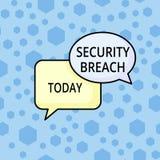 Wortschreibens-Text Sicherheitsbruch Geschäftskonzept für Vorfall, der unberechtigten Zugriff von Daten ergibt, passen von zusamm vektor abbildung
