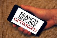 Wortschreibens-Text Suchmaschine optimiert Geschäftskonzept für das Verbessern von on-line-Sicht für Website- oder Blog Inhabergr Stockfotografie