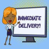 Wortschreibens-Text unmittelbare Lieferung Geschäftskonzept für Send es jetzt Zollverfahren, zum der sofort weißen Frau abzuschaf vektor abbildung