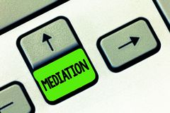 Wortschreibens-Text Vermittlung Geschäftskonzept für Interventionsdebatte zwecks sie lösen Schlichtungs-Entspannung stockfotografie