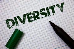 Wortschreibens-Text Verschiedenartigkeit Geschäftskonzept für aus unterschiedliche Elemente verschiedene Vielzahl-multiethnischen stockbilder
