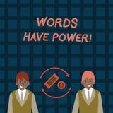 Wortschreibens-Text Wörter haben Energie Geschäftskonzept für, da sie Fähigkeit haben zu helfen, die Schmerzen zu heilen oder jem vektor abbildung