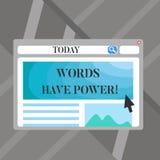 Wortschreibens-Text Wörter haben Energie Geschäftskonzept für, da sie Fähigkeit haben zu helfen, die Schmerzen zu heilen oder lee stock abbildung
