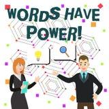 Wortschreibens-Text W?rter haben Energie Gesch?ftskonzept f?r, da sie F?higkeit haben zu helfen, die Schmerzen zu heilen oder jem lizenzfreie abbildung