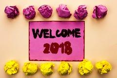 Wortschreibens-Text Willkommen 2018 Geschäftskonzept für die Feier, die neu ist, feiern den zukünftige Wunsch-erfreulichen Wunsch Lizenzfreies Stockfoto