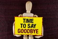 Wortschreibens-Text Zeit Abschied zu nehmen Geschäftskonzept für den Trennungs-Moment, der Auseinanderbrechen-Abschied lässt, wün Lizenzfreie Stockbilder