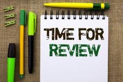 Wortschreibens-Text Zeit für Bericht Geschäftskonzept für Bewertungs-Feedback-Moment-Leistung Rate Assess geschrieben auf Notizbu lizenzfreies stockfoto