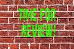 Wortschreibens-Text Zeit für Bericht Geschäftskonzept für Kunst Bewertungs-Feedback-Moment Perforanalysisce Rate Assess Brick Wal stock abbildung