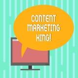 Wortschreibens-Text zufriedener vermarktender König Geschäftskonzept für Inhalt ist zum Erfolg einer angebrachten Website zentral lizenzfreie abbildung