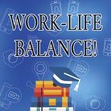 Wortschreibenstext Arbeits-Leben-Balance Geschäftskonzept für Zeiteinteilung zwischen Funktion oder Familie und Freizeit lizenzfreie abbildung