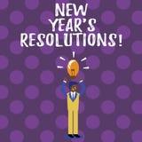 Wortschreibenstext Beschlüsse neuen Jahr-S Geschäftskonzept für Ziel-Ziele visiert Entscheidungen für als nächstes 365 Tage an stock abbildung